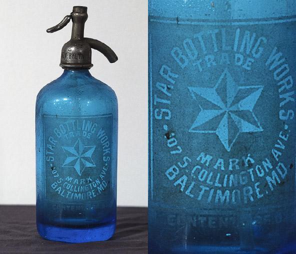 Blue Glass Seltzer Bottle